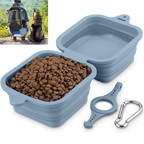 Hundenapf Faltbar, Fressnapf für Hund und Katzen Reisenäpfe Tragbar 2 in 1 Wassernapf und Futternapf 1240ml/40oz(Grau)
