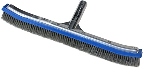 Poolmaster 20183 18-Inch Aluminum-Back Swimming Pool Algae Brush with Stainless Steel Bristles, Premier Collection