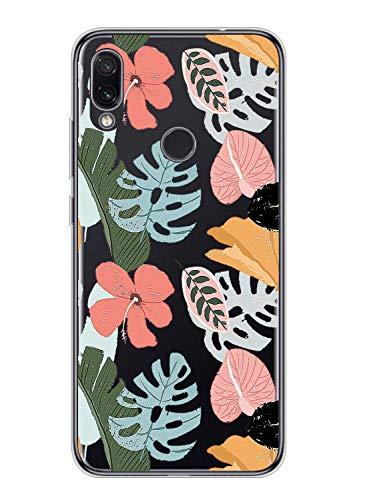 Suhctup Compatible con Xiaomi Redmi 7 Funda Flor de TPU Transparente Diseño de Flores Patrón Cárcasa Ultra Fina Suave con Dibujos Claro Silicona Antigolpes Proteccion Caso(A6)