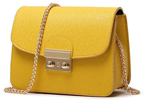Honeymall Kleine Damentasche Umhängetasche Citytasche Schultertasche Handtasche Elegant Retro Vintage Tasche Kette Band(Orange)