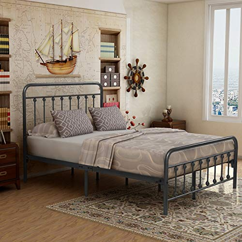Victorian Vintage Style Platform Metal Bed Frame Foundation Headboard Footboard Heavy Duty Steel Slabs Queen Size Silver/Gray Textured Charcoal Finish (Gray Silver, Full)