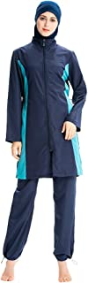 ملابس سباحة مسلم ملابس سباحة إسلامية للنساء والفتيات مقاس كبير لتغطية كاملة من قماش البكيني (اللون: أزرق، المقاس: XXX-كبير)