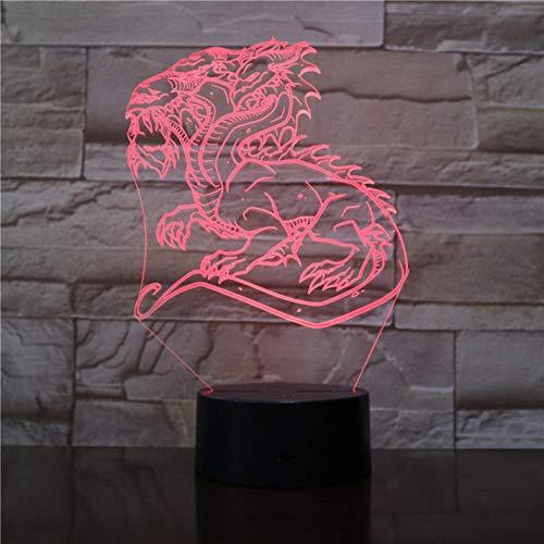 Dragón chino 3D Lámpara de luz nocturna LED bastante presente para niños Multicolores con control remoto Magic Dragon para decoración