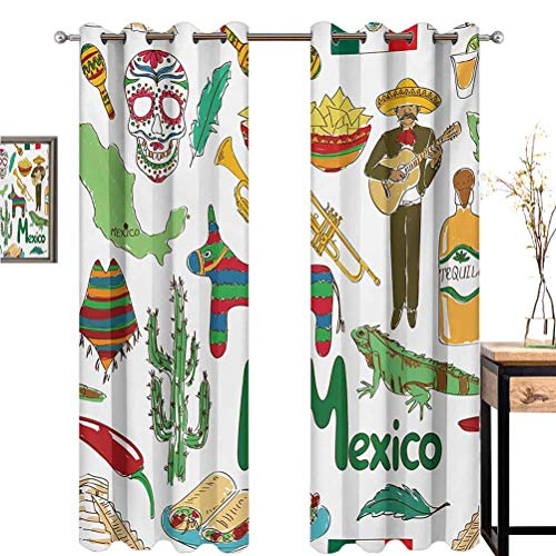 Mexican Darkened curtain curtains in bedroom grommet background Fun Colorful Sketch Artful Mexico Chili Pyramid Nachos Cactus Music Poncho Pattern Thermal Insulated Blackout Patio Door Curtain Panel