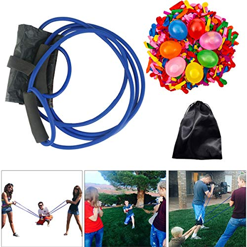 PTFNY Water Balloon Launcher with 500 Water Balloons Catapult Game Sling Shot Cannon Summer Outdoor Toy Games for Kids and Adults Coming with Carry Bag