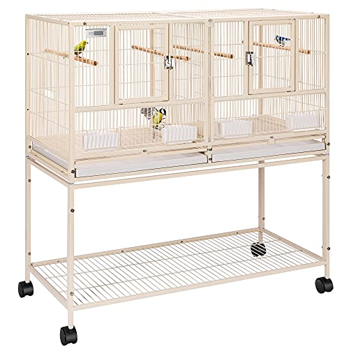VIVOHOME 41.5 Inch Stackable Divided Breeding Iron Bird Cage Parakeet House with Rolling Stand for Canaries Cockatiels Lovebirds Finches Budgies Small Parrots