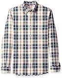 Goodthreads Marca Amazon Camisa de Cambray de Manga Larga de Corte Entallado para Hombre, a Cuadros Verde/Marfil, XL