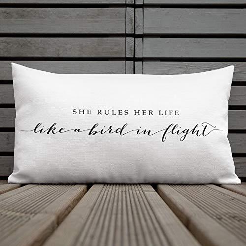 Toll2452 Funda de almohada con estampado rectangular para decoración de estilo bohemio, con texto en inglés 'She Rules Her Life Like a Bird in Flight