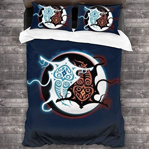 KUKHKU Avatar Legend Of Korra Raava Vaatu Juego de cama de 3 piezas, funda de edredón de 86 pulgadas x 70 cm, juego de cama de 3 piezas decorativas con 2 fundas de almohada