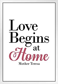 Mother Teresa Love Begins at Home White Famous Motivational Inspirational Quote White Wood Framed Poster 14x20