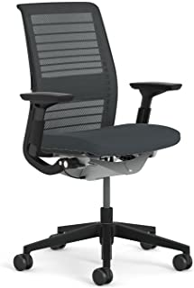 Steelcase Think Chair: Adjustable Lumbar Support - Height Adjustable Arms - Standard Carpet Casters - 3D Knit Back