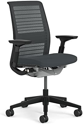 Steelcase Think Chair: Adjustable Lumbar Support - Height Adjustable Arms - Standard Carpet Casters -