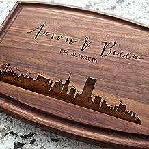 City Skyline Personalized Cutting Board - Engraved Custom Arched Cutting Board, Wedding, Housewarming, Anniversary, Engagement, Real Estate Closing Gift W-050 GB