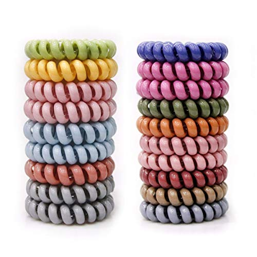 Set de 20 Hair Ring Lazos de pelo en Espiral, Phone Cord Hair Ties Spiral Hair Ties Coil Hair Ties for…