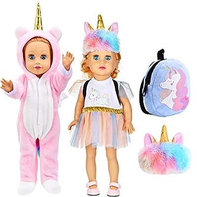 Set de 4 Ropas de Muñeca Unicornio Lindo, Mochila de Felpa Unicornio, Venda, Disfraces y Falda de Pijama de Muñeca Unicornio, Ropa de Muñecas Bebé para Muñecas de 18 Pulgadas
