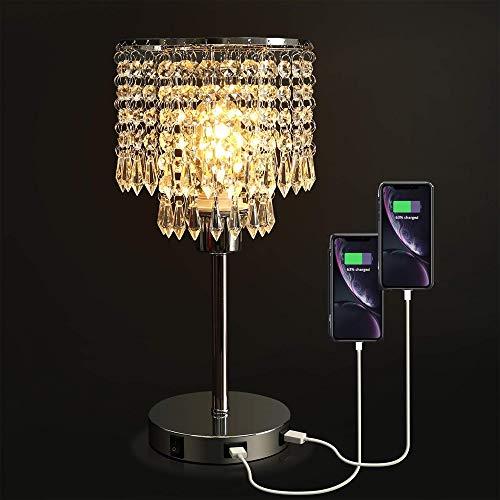 Dellemade Raindrop Silber Kristall Tischlampe mit 2 USB -Port für Schlafzimmer, Wohnzimmer, Mädchen Zimmer oder als Hochzeitsgeschenk