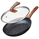 Deco Express Frying Pans, Diamond Coated Non Stick Frying Pan 20cm, 24cm, 28cm with Glass Lid, High Performance Forged Aluminium Cooking Pans (28 cm)