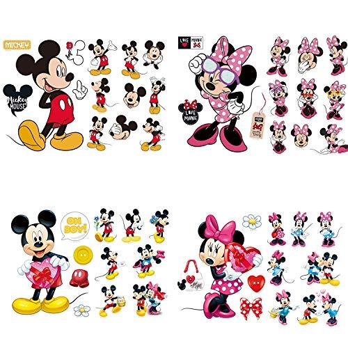 YUESEN Adesivi Muro Mickey Adesivi Muro Minnie Cartoon Kids Adesivi da Parete Minnie e Topolino Adesivi per Camera Neonati e Bambini Decorazione Cartone Animato Bambini Stickers