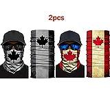 2PCS Canada Flag Face Scarf Bandana Neck Gaiters Tube Balaclava Neckerchief Beanie Headb