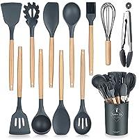 henshow set utensili da cucina, 12 pezzi set utensili da cucina in silicone include porta utensili - utensile da cucina antiaderente antigraffio con manico in legno (colore grigio scuro)