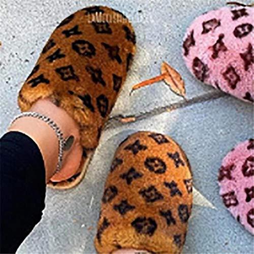 B/H Invierno CáLido Felpa Cómodo Zapatos,Pantuflas de Felpa cálidas de Gran tamaño, Pantuflas Planas de algodón Antideslizantes-marrón_38,Hombre Invierno cómodo Zapatillas