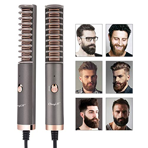 Alisador de barba para hombres, peine alisador de barba eléctrico, alisador rápido de Beard Straightener Comb, para hombres y mujeres, alisador de barba portátil