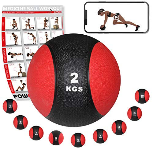 POWRX Medizinball Gewichtsball 1-10 kg | Schwarz/Rot (2 kg)