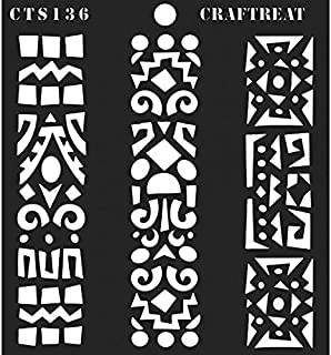 CrafTreat Stencil - Folk Art Borders - Reusable Painting Template for Journal, Notebook, Home Decor, Crafting, DIY Albums, Scrapbook and Printing on Paper, Floor, Wall, Tile, Fabric, Wood 6x6 inches