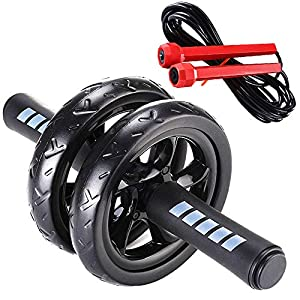 immagine di Bisgear - Rullo per addominali, set per fitness, con ginocchiera antiscivolo e corda per saltare, per allenare addominali, tonificare i muscoli, allenamento di tutto il corpo