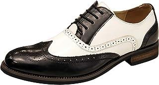 7dba57343f6cc7 wealsex Homme Brogues Bicolore PU Cuir Bout Pointu Chaussures de Ville à  Lacets Oxford Vintage Mariage
