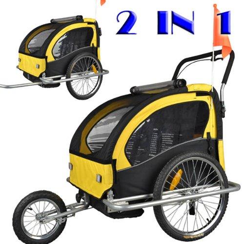 Remolque de bici para niños con kit de footing, color: amarillo/negro JBT03A-D03