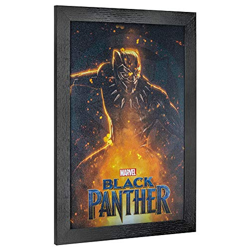"""Officially Licensed Marvel Comics Black Panther Movie Poster Framed Wall Art (19"""" H x 13"""" L)"""