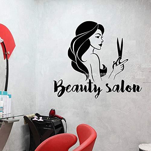 supmsds Schönheitssalon Friseur Mädchen Vinyl Wandtattoo Schild Logo Mit Schere Schaufenster Dekor Aufkleber DIY Wandbilder Aufkleber 89X78 cm