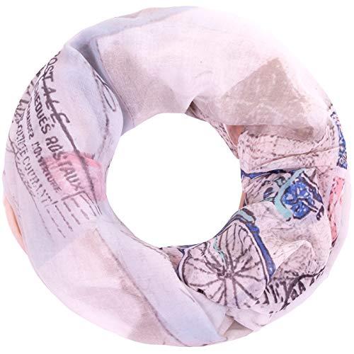 Faera Damen Schal Postkarte und Fahrrad weicher und leichter Loopschal Rundschal in verschiedenen Farben, SCHAL Farbe:Altrosa