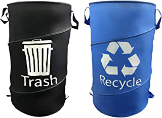 All Weather 33 Gallon Pop Up Trash and Recycling Container 2 Pack Bundle. Durable, Reusable Space Saving Collapsible Travel Garbage Container for Camping, Outdoor BBQs, Tailgating Leaf or Yard Cleanup