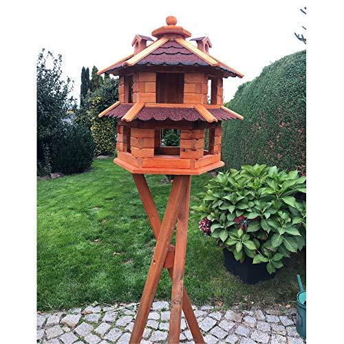 Darlux Vogelvilla XL Futterstelle Sechseck Doppelstock Holz Vogelhaus+Ständer Braun/Rot
