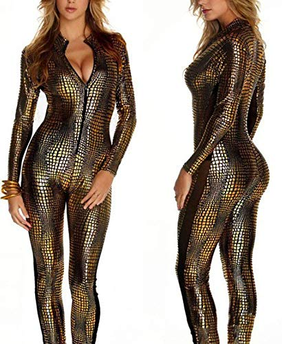 WNRLL Mono Sexy para Mujer Body Colorido Mini Estampado Piel Serpiente Cremallera Frontal de Cuero Ajustado Look Mojado Disfraces de Halloween,M