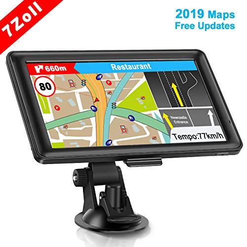 GPS Navi Navigation für Auto, LKW PKW Touchscreen 7 Zoll 8G 256M Sprachführung Blitzerwarnung mit POI Lebenslang Kostenloses Kartenupdate Navigationsgerät Fahrspurassistent EU UK 48 Karten