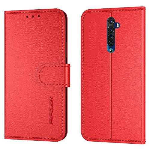 FMPCUON Handyhülle Kompatibel mit Oppo Reno2 Z/Reno2 F(6.5 Zoll),Premium Leder Flip Schutzhülle Tasche Hülle Brieftasche Etui Hülle für Oppo Reno2 Z/Reno2 F(6.5 Zoll),Rot
