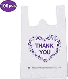 LazyMe Thank You T-Shirt Carry-Out Bags Plastic Grocery Bags White Sturdy Handled Merchandise Bags,Standard Supermarket Size, 12 x 20 inch (100 PCS)