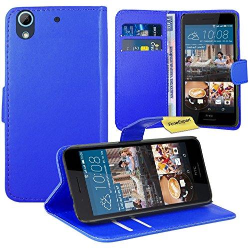 HTC Desire 728G Handy Tasche, FoneExpert® Wallet Hülle Flip Cover Hüllen Etui Ledertasche Lederhülle Premium Schutzhülle für HTC Desire 728G (Blau)
