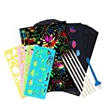 50 PCS Rainbow Magic Scratch Paper for Kids Black Scratch Off Art Crafts Notes Boards Sheet , with 5 Wooden Stylus 4 Drawing Stencils , for Birthday Party Game Activities Gift Easter Party Game
