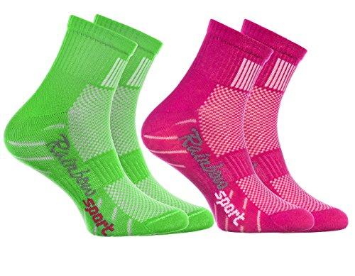 Rainbow Socks Rainbow Socks - Jungen Mädchen Sneaker Bunte Baumwolle Sport Socken - 2 Paar - Rosa Grün - Größen 24-29