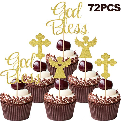 72 Piezas Toppers de Magdalena de God Bless Toppers de Magdalena de Cruz Dorado Toppers de Tarta de Hadas Ángelos para Navidad Boda Cumpleaños Fiesta
