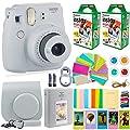 Fujifilm Instax Mini 9 Instant Camera + Fuji Instax Film (40 Sheets) + Accessories Bundle - Carrying Case, Color Filters, Photo Album, Stickers, Selfie Lens + More (Smokey White)
