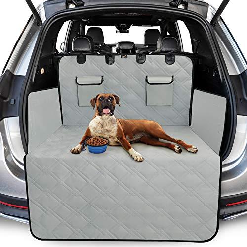 Toozey Völliger Kofferraumschutz für Hund - Reißfeste/Wasserdichter Kofferraumdecke Hundedecke Auto mit Seitenschutz Schützt den Kofferraum&Stoßstange vor Schmutz, Kratzern und Haaren, Hellgrau