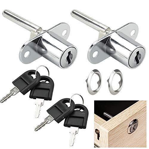 KBNIAN 2 Stück Büro Schubladen Schlösser mit Schlüssel, Schrank Plunger Schloss Schrankschlösser, für Bürotische, Aktenschränke,Kleiderschrank, Schlüsselloch 16 mm, Gesamtschlosslänge 61 mm (silber)