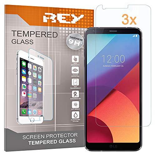 REY 3X Protector de Pantalla para LG G6, Cristal Vidrio Templado Premium