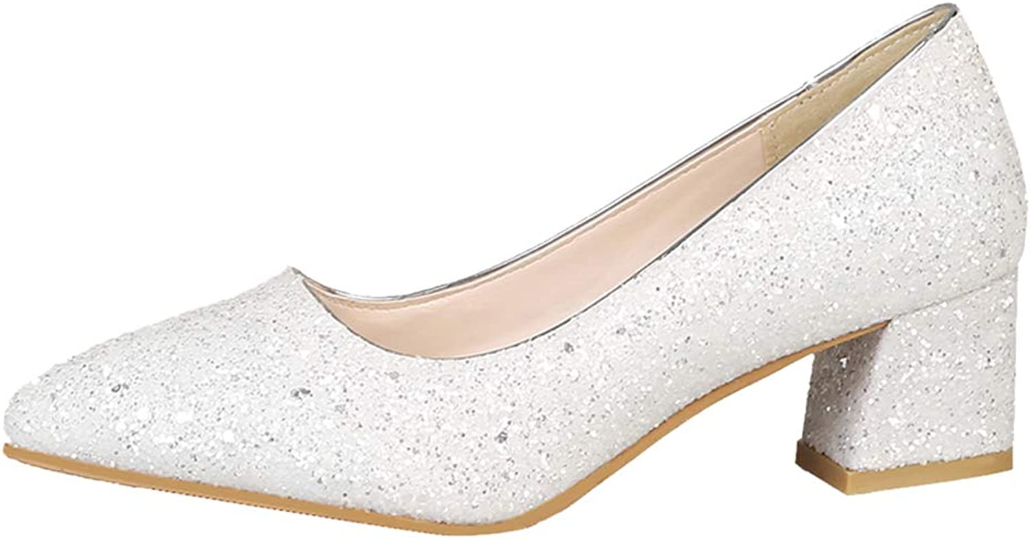 Besbomig Bridal Wedding shoes Womens Sequins Chunky Heel Pumps Party Court shoes