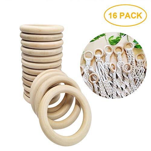 Natur Holzringe zum Basteln 7 cm Holz Ringe für DIY Anhänger Handwerk Schmuckherstellung,16 Stück
